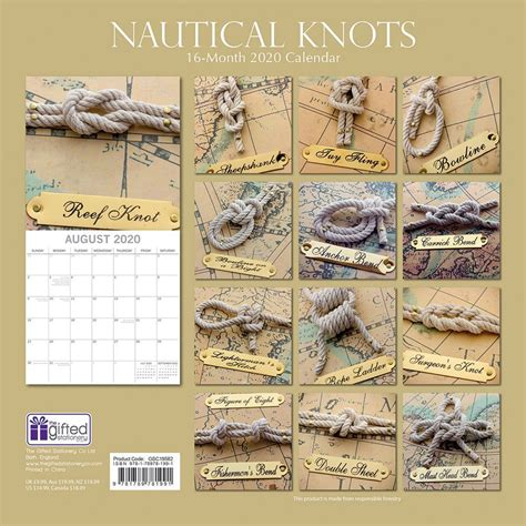 nautical knots wall calendar