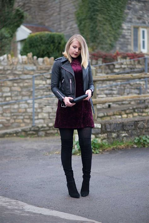 The Velvet Dress With A Leather Jacket Raindrops Of Sapphire