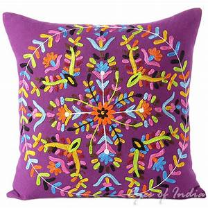 purple embroidered boho colorful decorative bohemian throw With cheap purple pillow