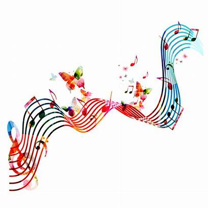 Background Abstract Butterflies Vector Colored Notes Musik