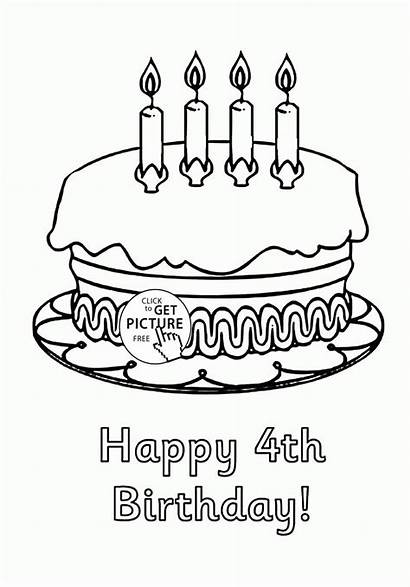 Birthday Happy Coloring Cake 4th Pages Cakes
