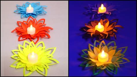 paper flower diya decoration diy diwali decorations