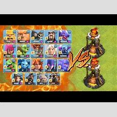 All Troops Vs Level 5 Inferno Tower  Clash Of Clans New Update June 2017 Youtube