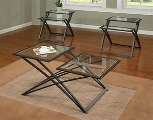 glass top gold tone metal base modern 3pc coffee table set With gold tone coffee table