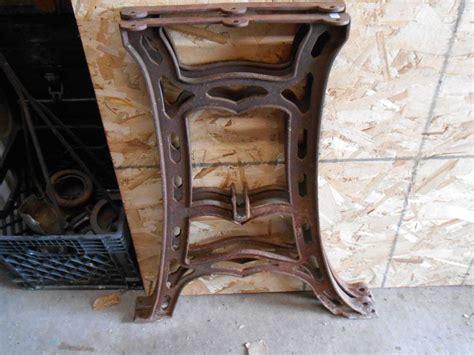vintage industrial antique machine cast iron table bench