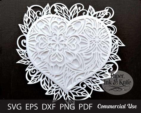 Free 3d layered mandala cut file for cricut and silhouette. Papercut Template Layered Heart Mandala 3D Intricate multi ...