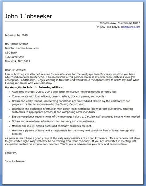 sample cover letter mortgage loan processor creative