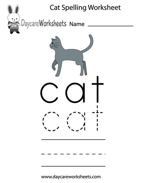 preschool cat spelling worksheet