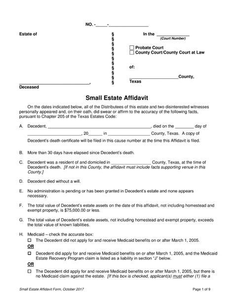 texas real estate forms fillable free texas small estate affidavit form pdf eforms