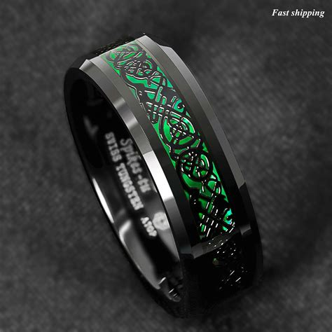 mm tungsten ring black celtic dragon green carbon fiber