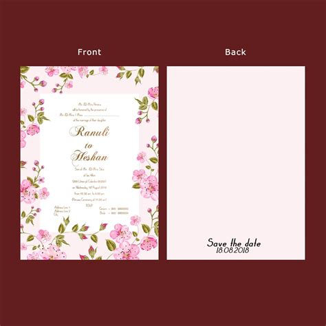 wedding invitation card double sided anim