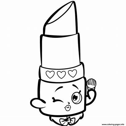 Shopkins Coloring Pages Printable Lips Lippy Getdrawings