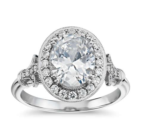 blue nile studio oval vintage fleur de lis halo engagement