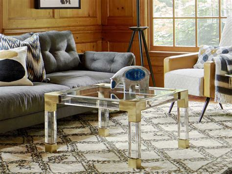 The jacques collection is the perfect blend of simplicity and glamour, modern and traditional. Jonathan Adler Jacques Clear / Brass 28'' Wide Square Coffee Table | JON18003