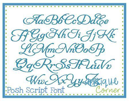 posh script embroidery font applique corner