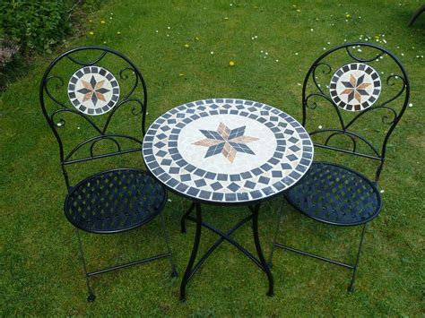 mosaic bistro table and chairs 3 piece metal mosaic garden bistro set with black cushions