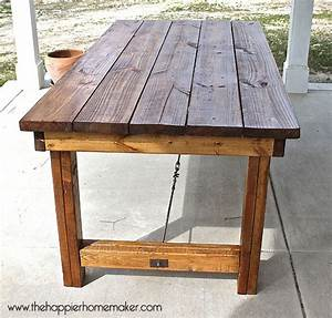 diy pottery barn inspired dining table the happier homemaker With barn wood patio table
