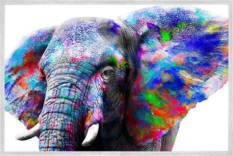 bold rainbow elephant canvas print wall art