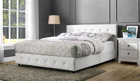 White Leather Button Tufted Upholstered Platform Bed Frame