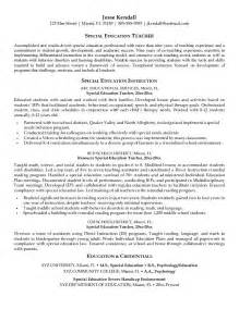 exle of a education resume exle special education resume free sle
