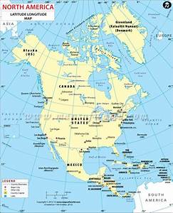 Latitude And Longitude Maps Of North American Countries