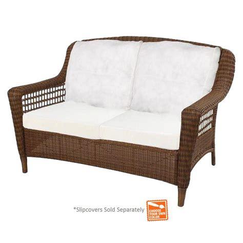 sofa springs home depot hton bay spring haven brown wicker outdoor patio