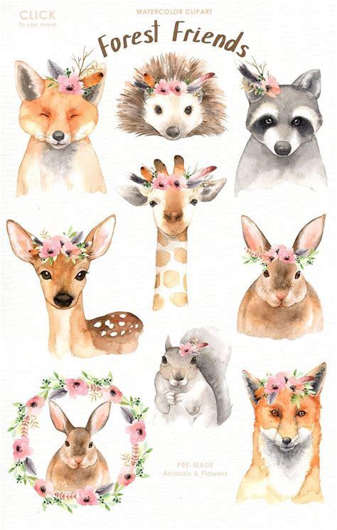 forest friends watercolor clip art  everysunsun