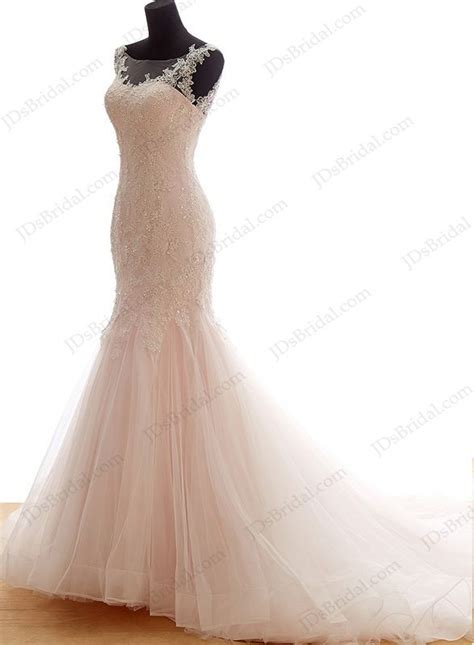 cheap colored wedding dresses is044 illusion top feminine blush pink mermaid tulle