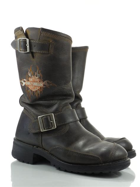 mens leather motorcycle boots harley davidson logger conductor 8 m mens boots dark brown