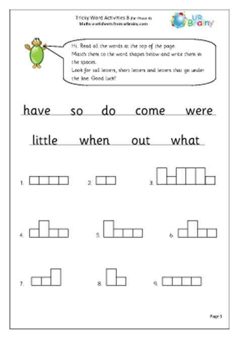 tricky word activities 8 worksheet for key stage 1