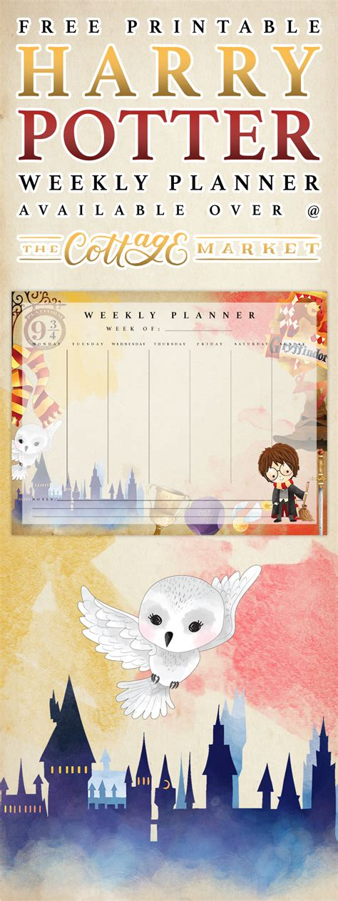 printable harry potter weekly planner  cottage