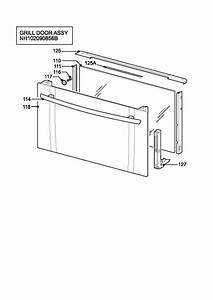 Zanussi Zkc6020w  94852218101  Oven H Grill Door Assy Spare Parts Diagram