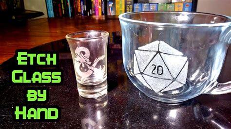 etch glass  hand  cream etched glass coffee mug