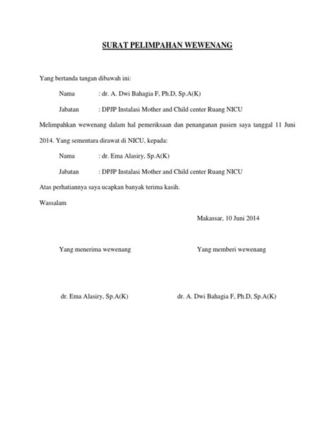 contoh surat pendelegasian wewenang dokter  perawat
