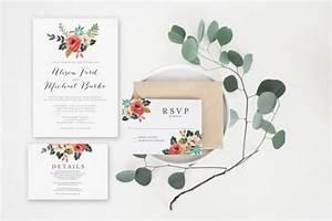 wedding invitation set watercolor floral invitation With minimalist floral wedding invitations