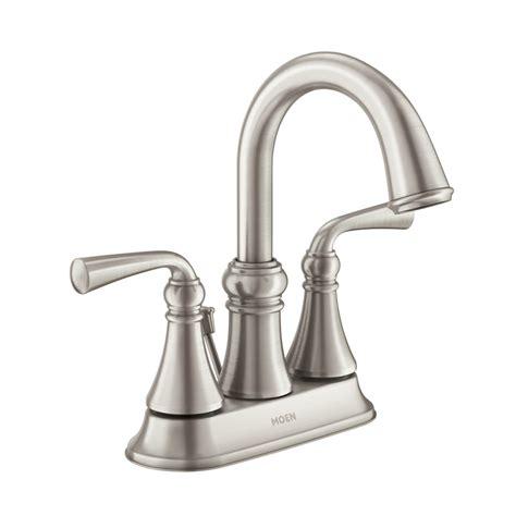 lowes bathroom sink faucets brushed nickel shop moen wetherly spot resist brushed nickel 2 handle 4