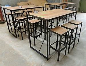 Table Bar Bois : 1000 images about table haute metal bois industrielle sur pinterest vintage loft et tables ~ Teatrodelosmanantiales.com Idées de Décoration