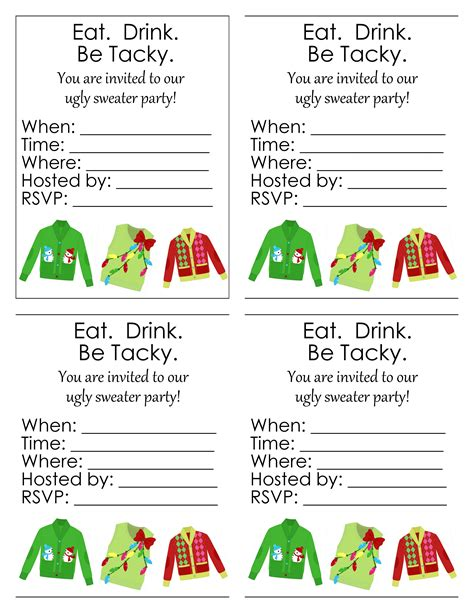 ugly sweater party  printables  country chic cottage