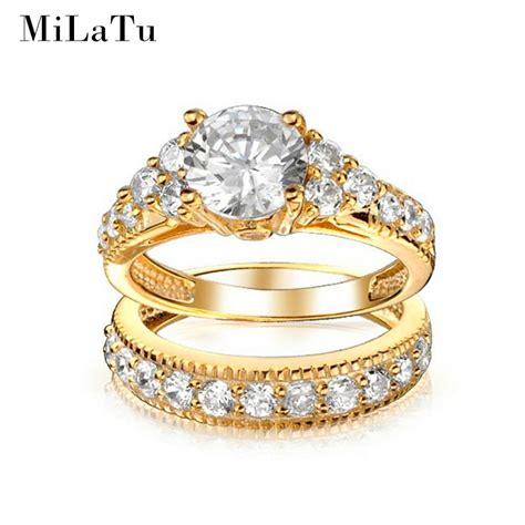 milatu luxury bridal wedding ring sets gold color cubic zirconia engagement ring women