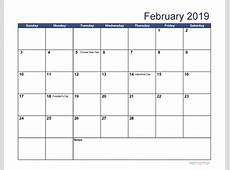 Free Download Printable February 2019 Calendar with