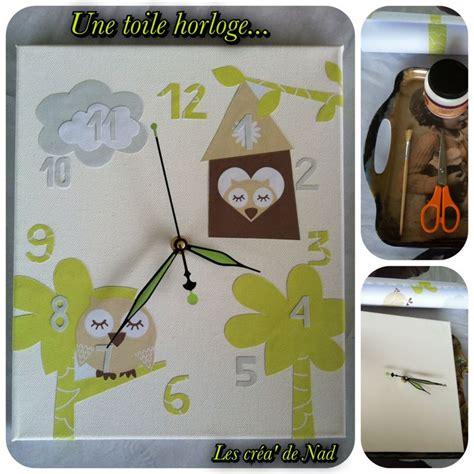 toile pour chambre diy horloge sur toile motifs hibou pour une chambre d