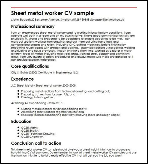 Sheet Metal Worker Resume by Sheet Metal Worker Cv Sle Myperfectcv