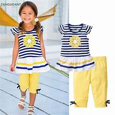 Tanguoant Summer Girls Clothing Sets Baby Kids Clothes Suit Children Sleeveless Striped T Shirt