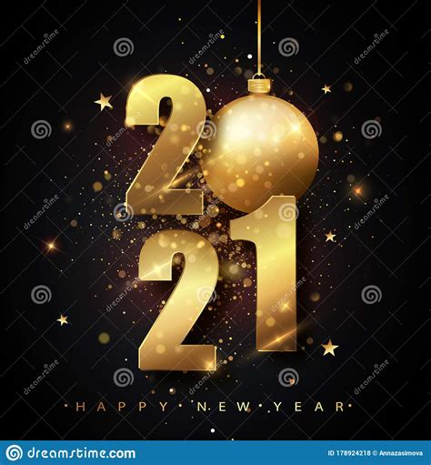Happy New 2021 Year Holiday Vector Illustration Of Golden