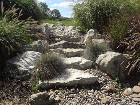 dry stream bed waterfall spill rock  stairs