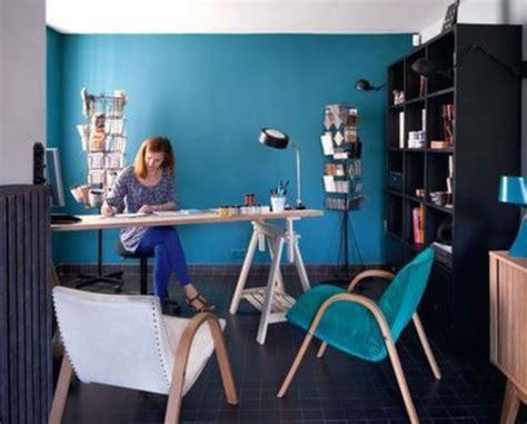 tapisserie pour bureau couleur bleu canard dans mon salon