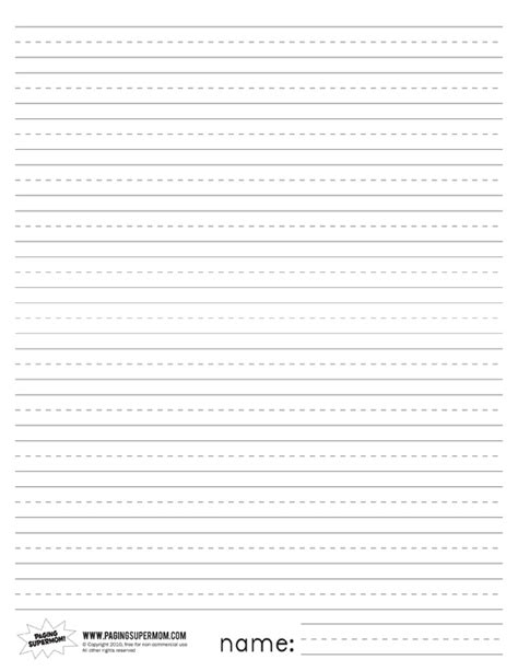 printable primary lined paper paging supermom