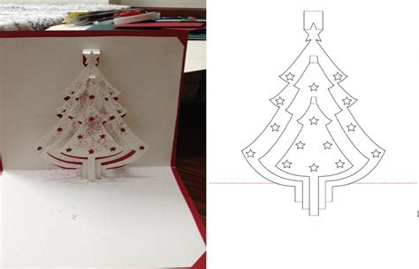 dyi christmas tree pop up card tutorial free pattern