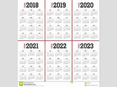 Year 2018 2019 2020 2021 2022 2023 Calendar Vector Stock