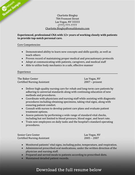 Cna Resume Template by How To Write A Cna Resume Exles Included